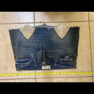 Free People Size 6 Jean Lace Distressed Skirt